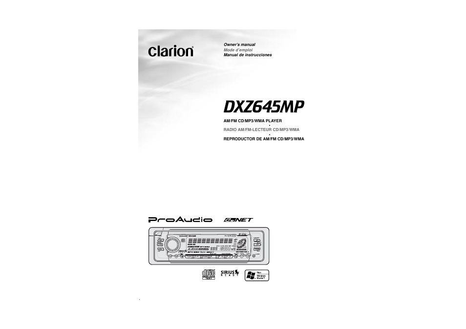 Clarion DXZ645MP User Manual | 43 pages