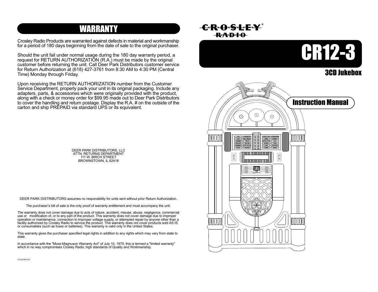 Crosley Radio Crosley Full Size Jukebox CR12-3 User Manual