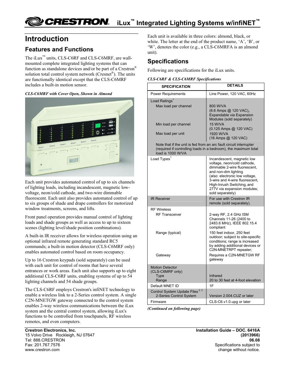 Crestron Electronic Ilux Cls C6rf User Manual 6 Pages Also For Iluxx Lighting Support C6mrf