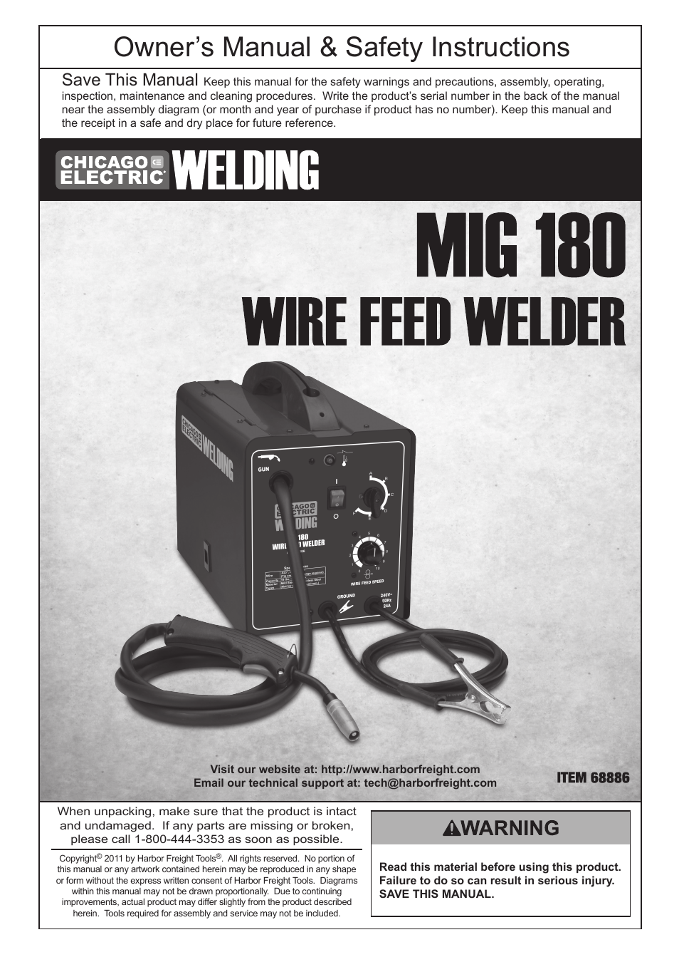 Chicago Electric MIG 180 Wire Feed Welder 68886 User Manual | 32 pages