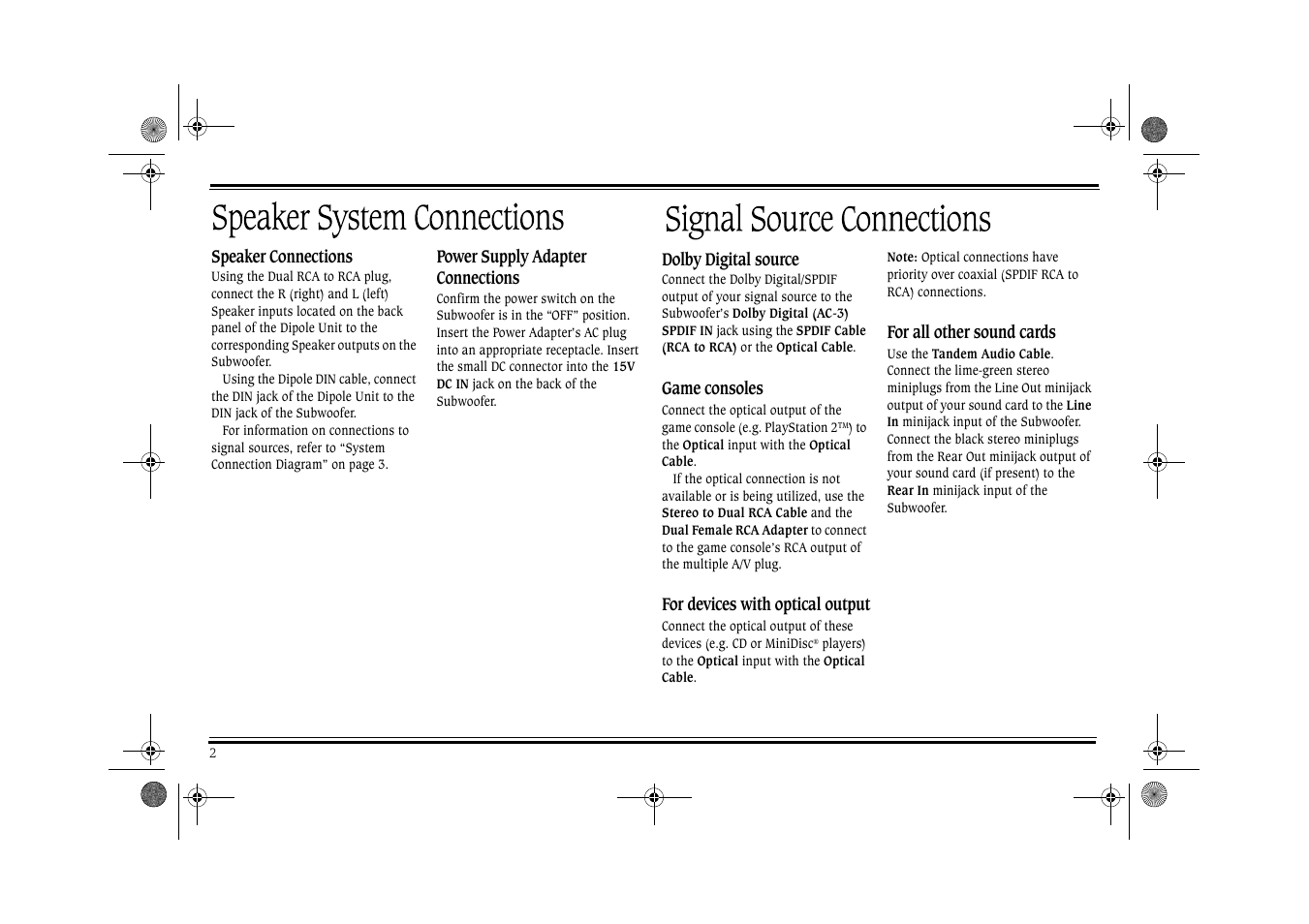 Cambridge Soundworks Ps2000 User Manual Page 7 19 Power Supply With Multiple And On Female Cord Input Diagram