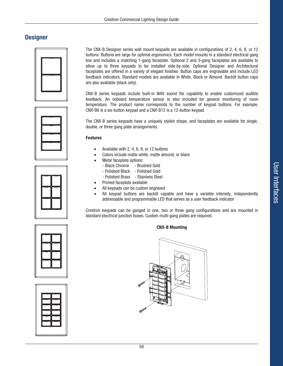 User interfaces, Designer | Crestron electronic Green Light GLPS-HSW-FT User  Manual | Page 63 / 84