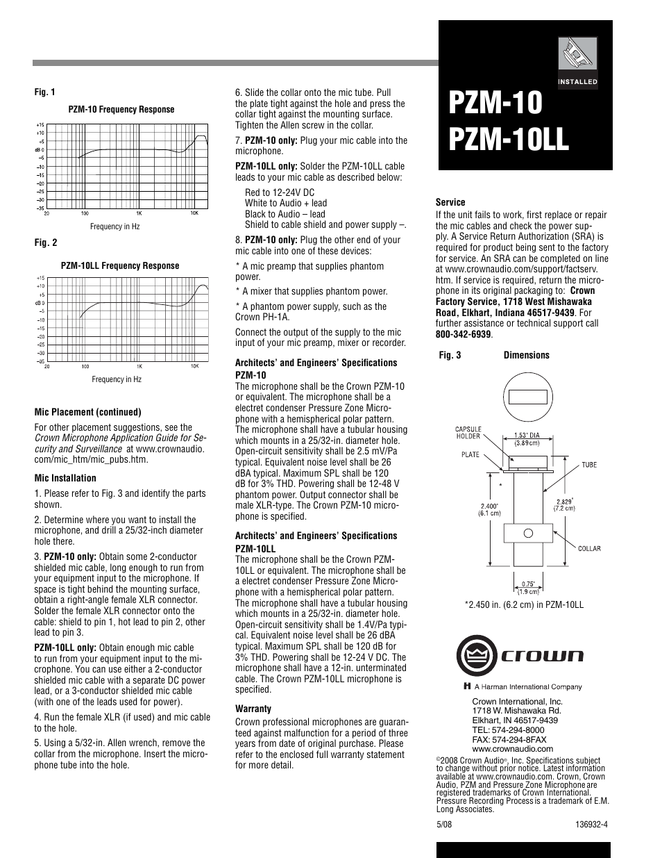 Pzm-10, Pzm-10 pzm-10ll | Crown Audio Polar Pattern PZM
