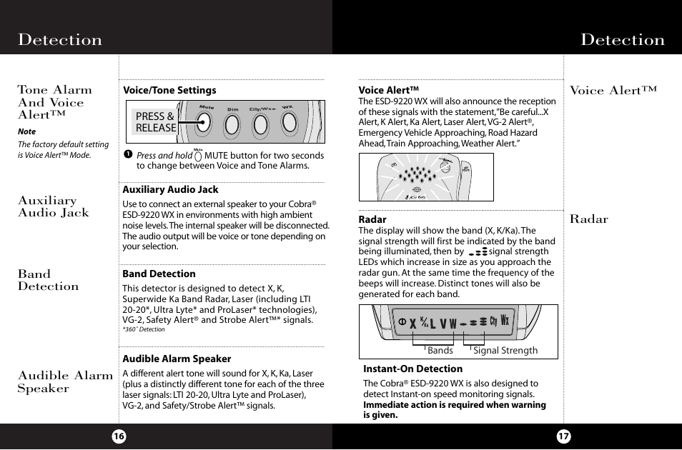 Detection, Tone alarm and voice alert, Radar voice alert