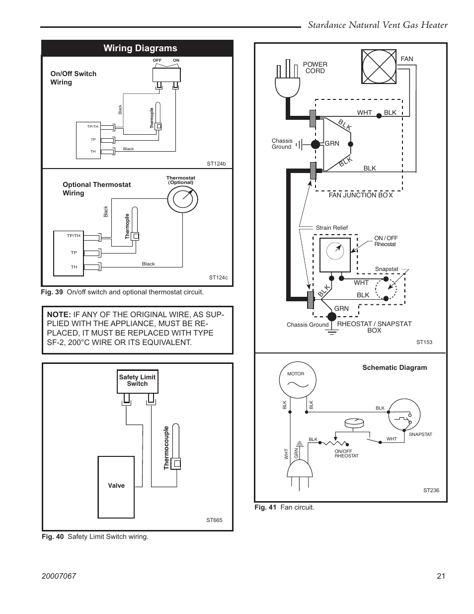 Stardance Natural Vent Gas Heater  Wiring Diagrams