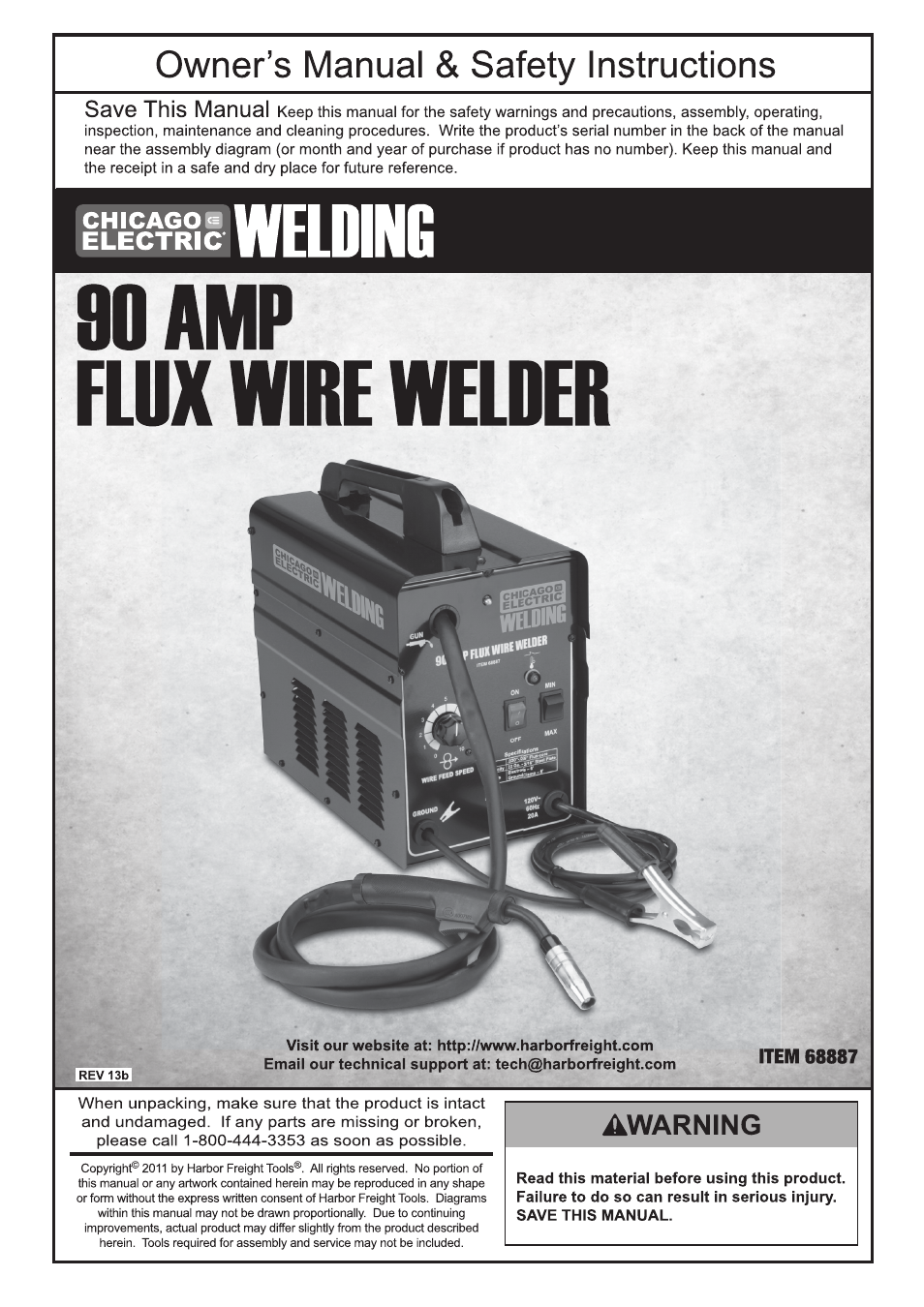 Chicago Electric 90 AMP FLUX WIRE WELDER 68887 User Manual | 28 pages