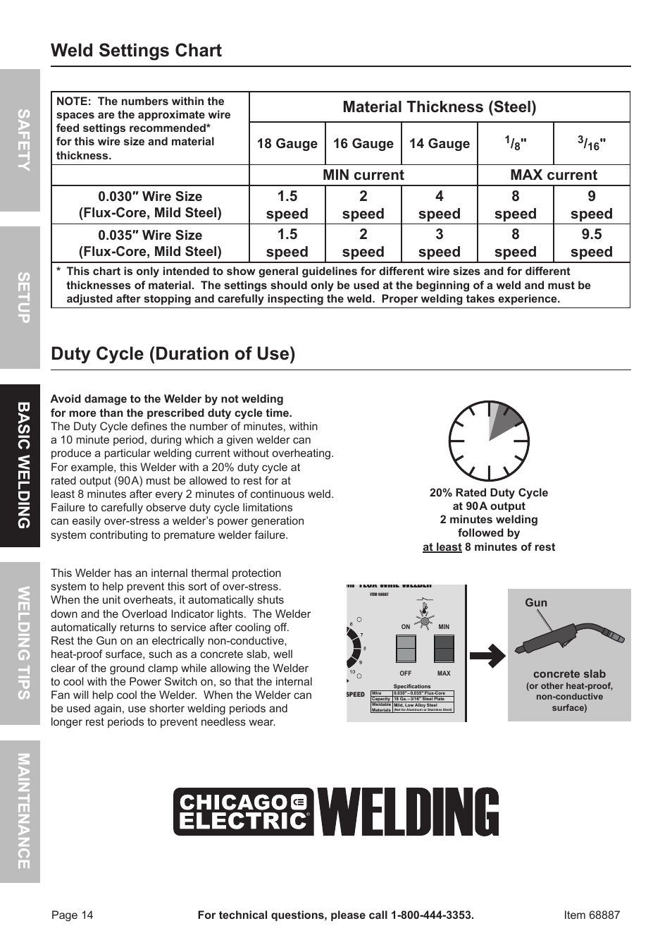 Weld settings chart, Duty cycle (duration of use), Material ...