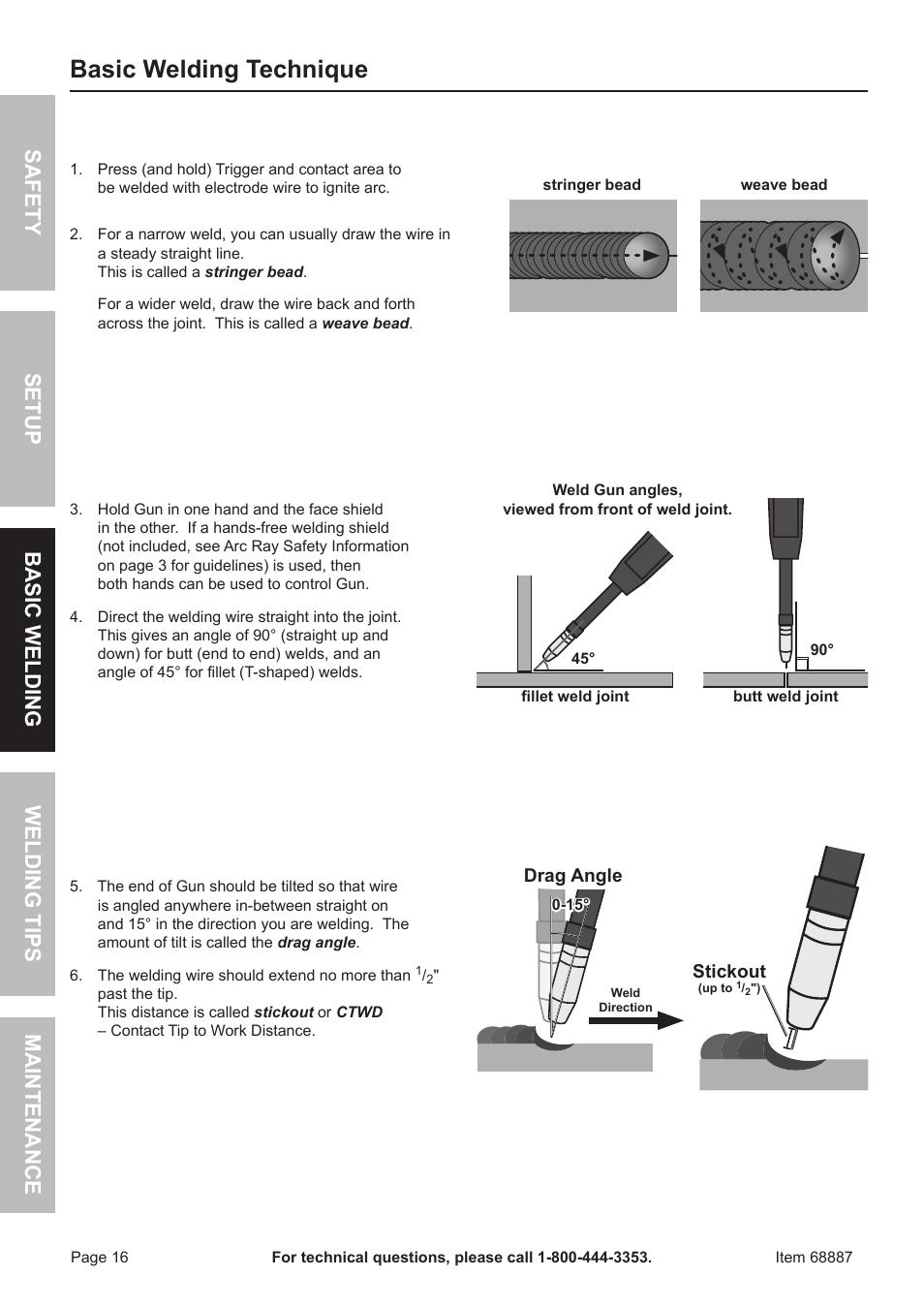 Basic welding technique | Chicago Electric 90 AMP FLUX WIRE WELDER ...