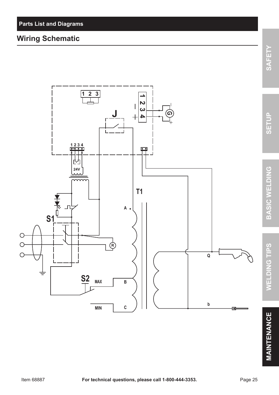 chicago electric 90 amp flux wire welder 68887 page25 s2 s1, wiring schematic chicago electric 90 amp flux wire welder wiring diagram for chicago electric welder at edmiracle.co