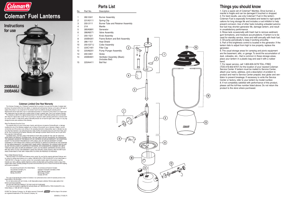 Coleman 200BA65J User Manual | 2 pages