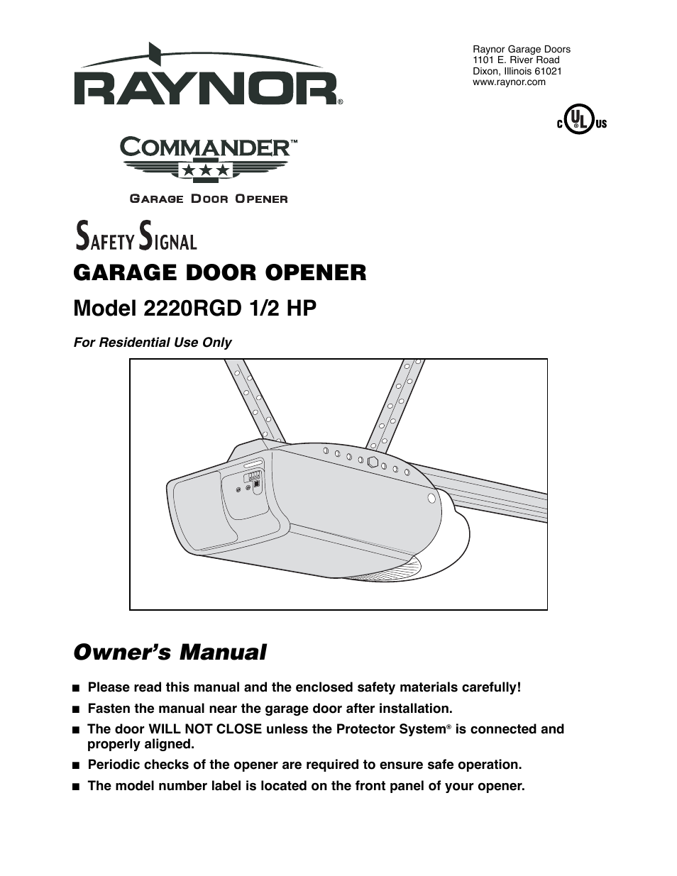 Chamberlain 2220rgd 1 2 Hp User Manual 36 Pages Raynor Garage Door Opener Wiring Diagram