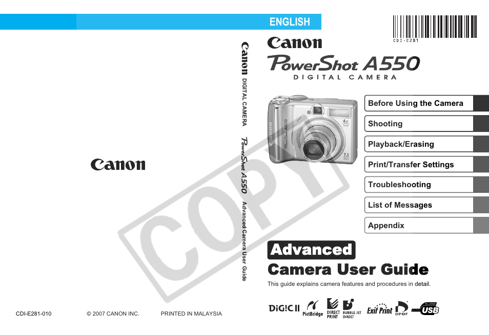 canon a550 user manual 123 pages rh manualsdir com Sony A550 Lenses canon powershot a550 user manual