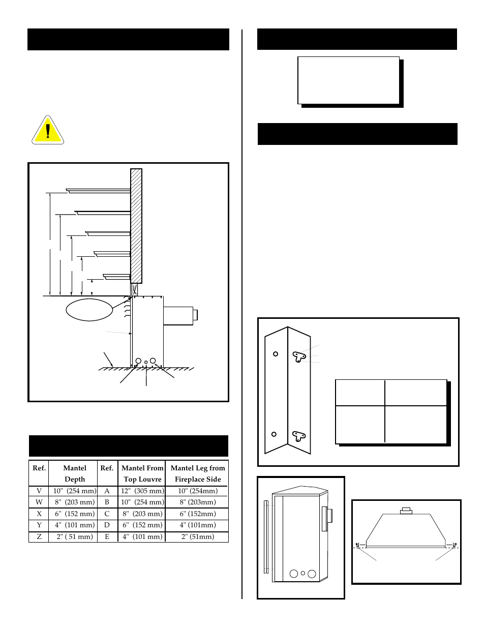 Mantel chart, Mantels, Clearance to combustibles | Vermont