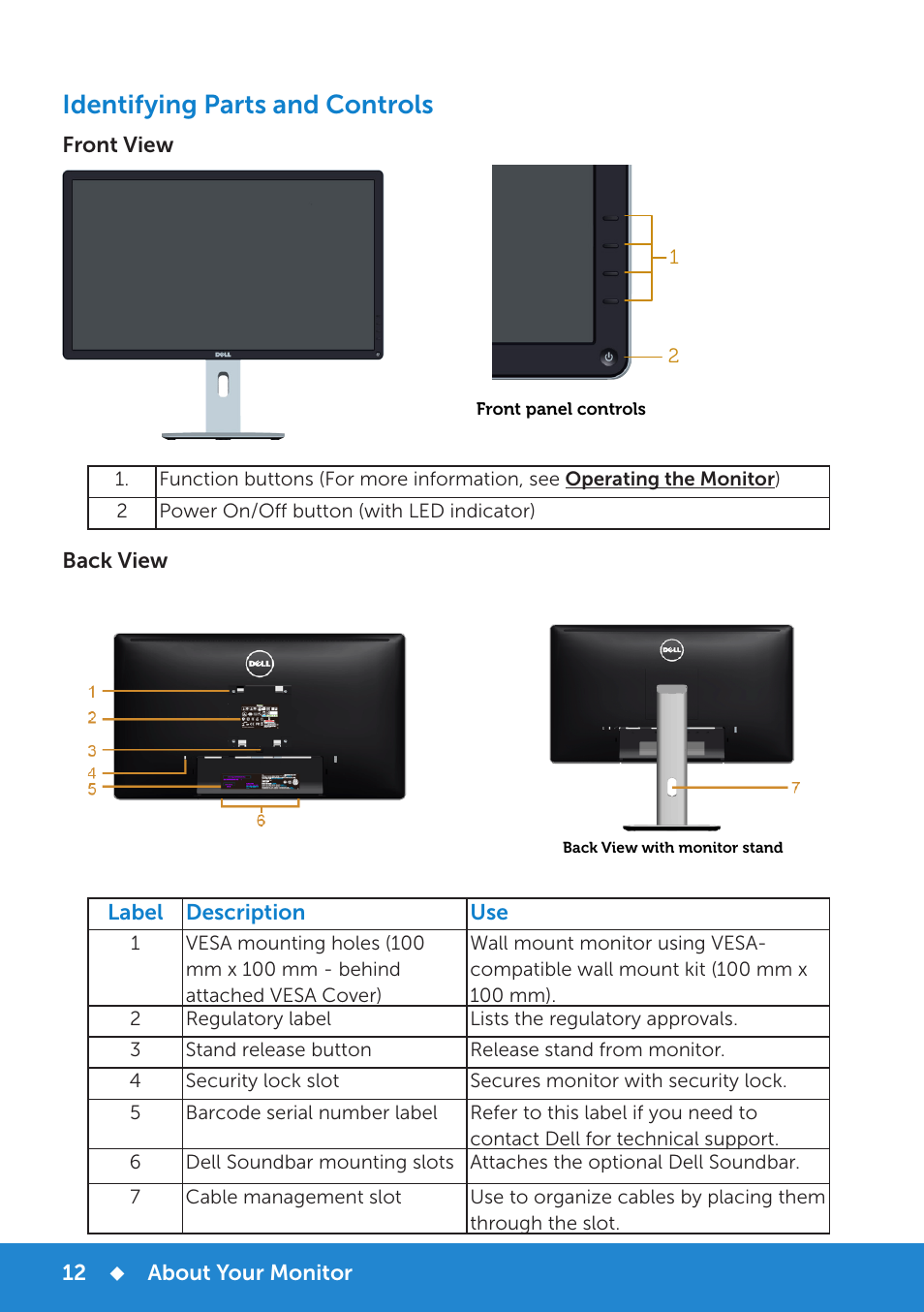 e84a7a7ae3b Identifying parts and controls | Dell P2714H Monitor User Manual | Page 12  / 72