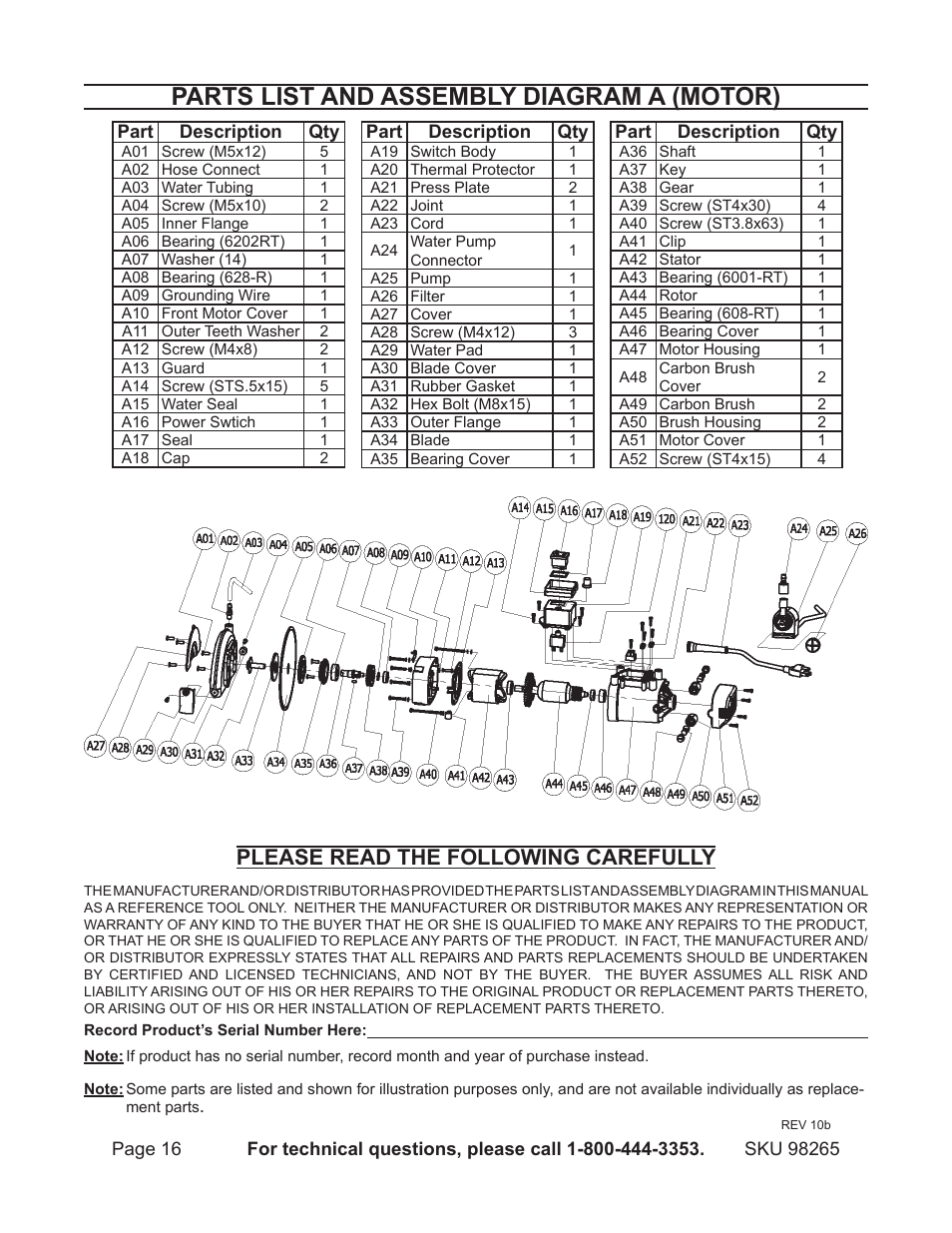 Parts List And Assembly Diagram A  Motor   Please Read The