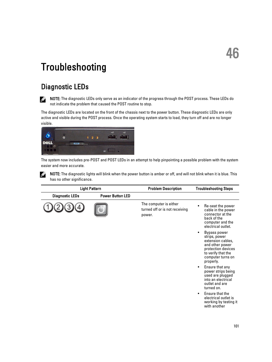 Troubleshooting, Diagnostic leds, 46 troubleshooting | Dell