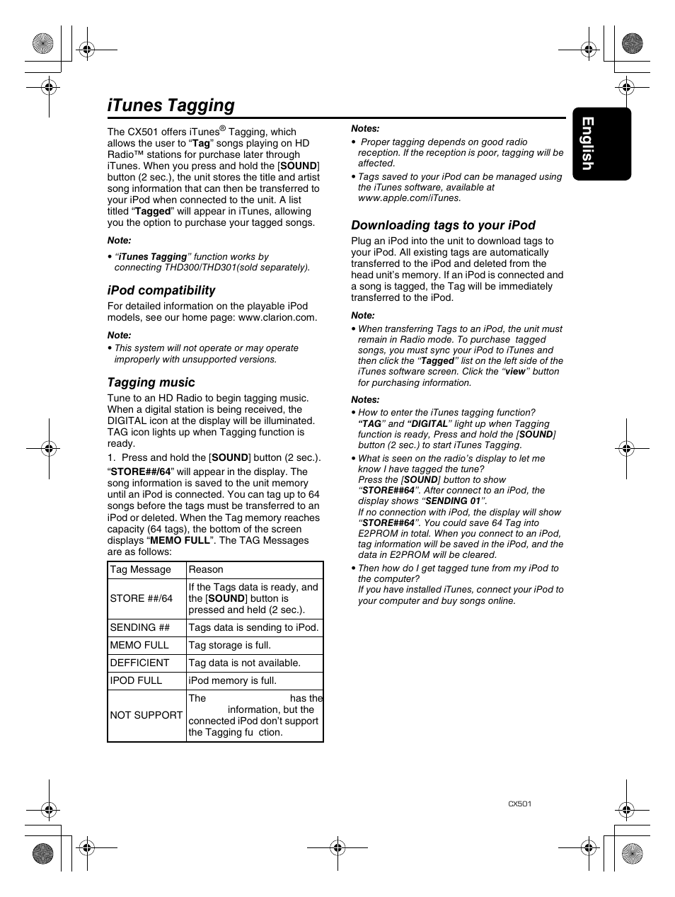 Itunes tagging, English 17 | Clarion CX501 User Manual | Page 17 / 37