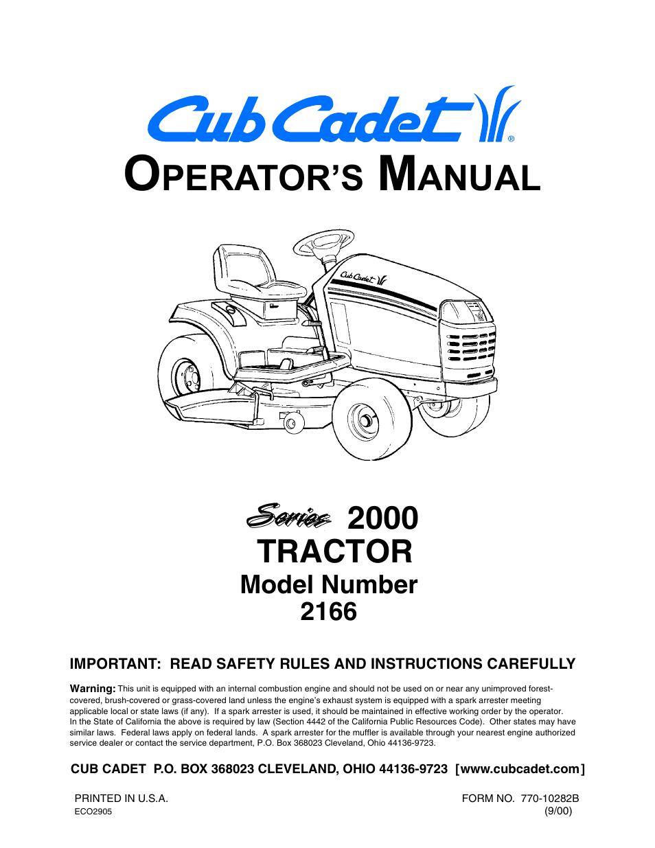cub cadet 2166 user manual 60 pages rh manualsdir com cub cadet model 2166 manual cub cadet 2166 operator's manual