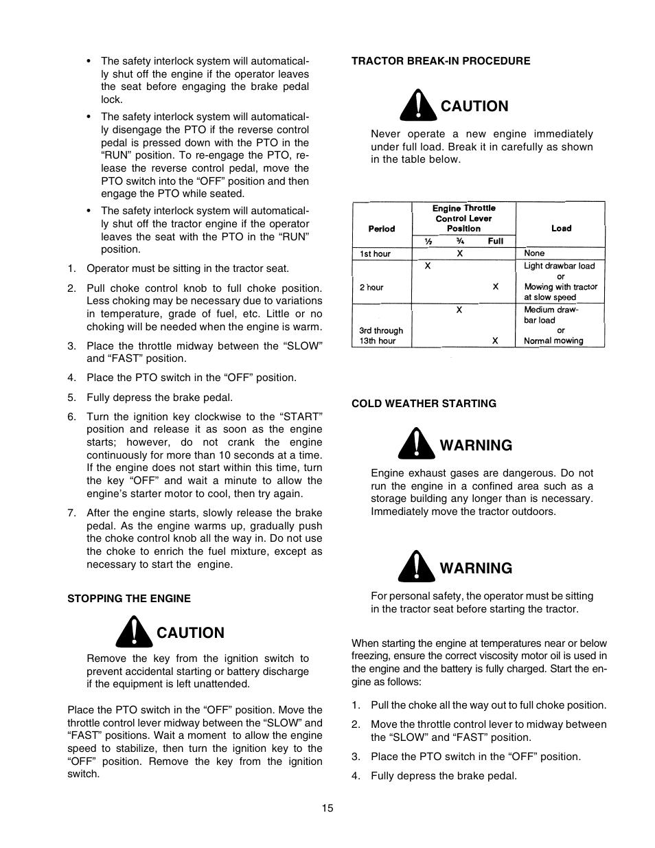caution warning cub cadet 2166 user manual page 15 60 rh manualsdir com cub cadet 2166 manual and carb repair cub cadet 2166 operator's manual