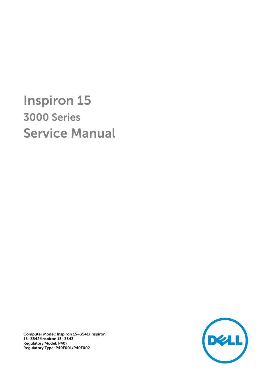 Dell Inspiron 15 (3543, Early 2015) User Manual | 99 pages