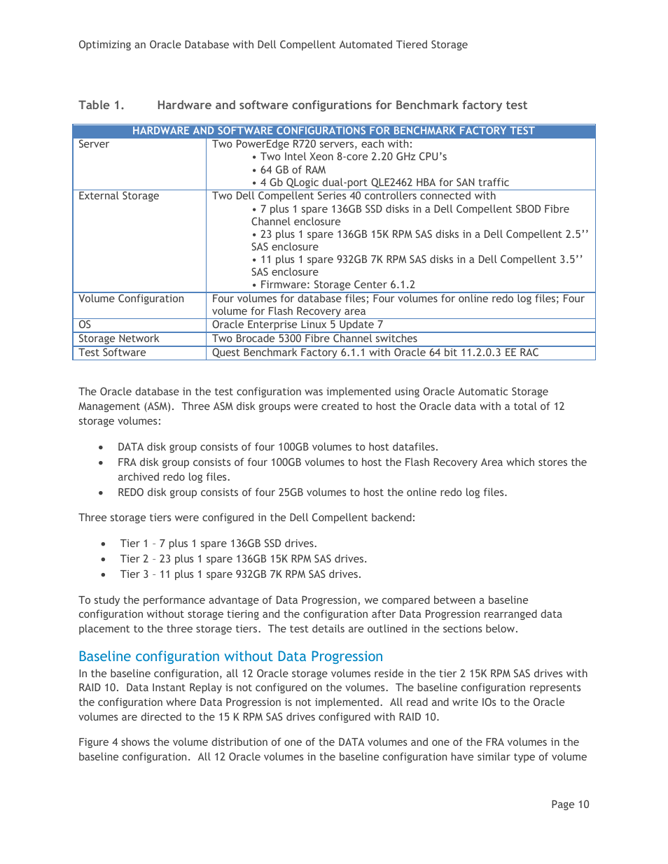 Baseline configuration without data progression, Table 1 | Dell