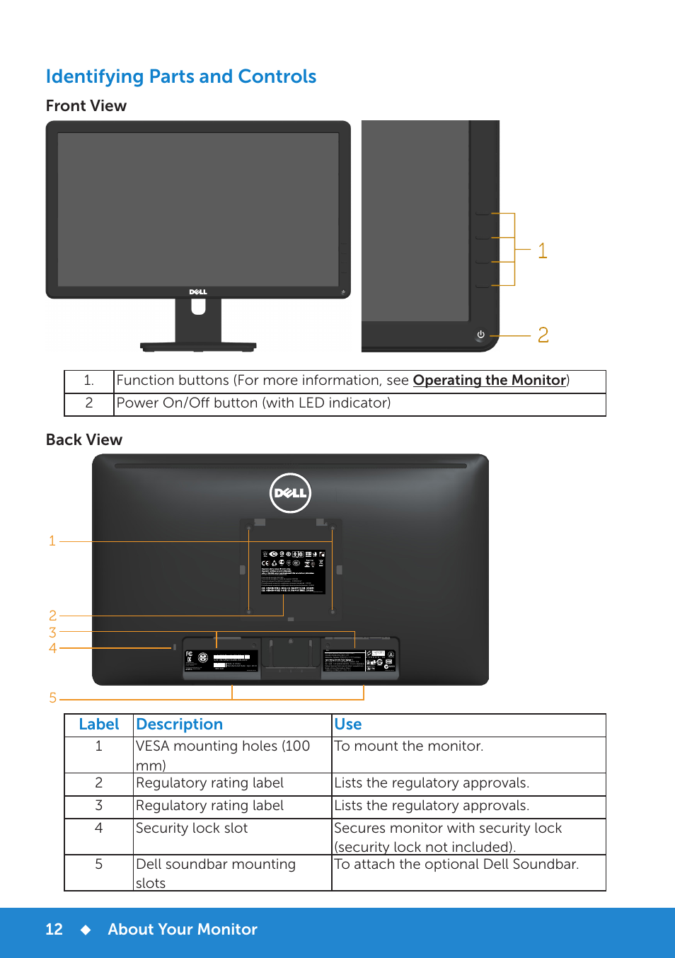 12712d34eb8 Identifying parts and controls, About your monitor, Front view | Dell  E2314H Monitor User Manual | Page 12 / 70