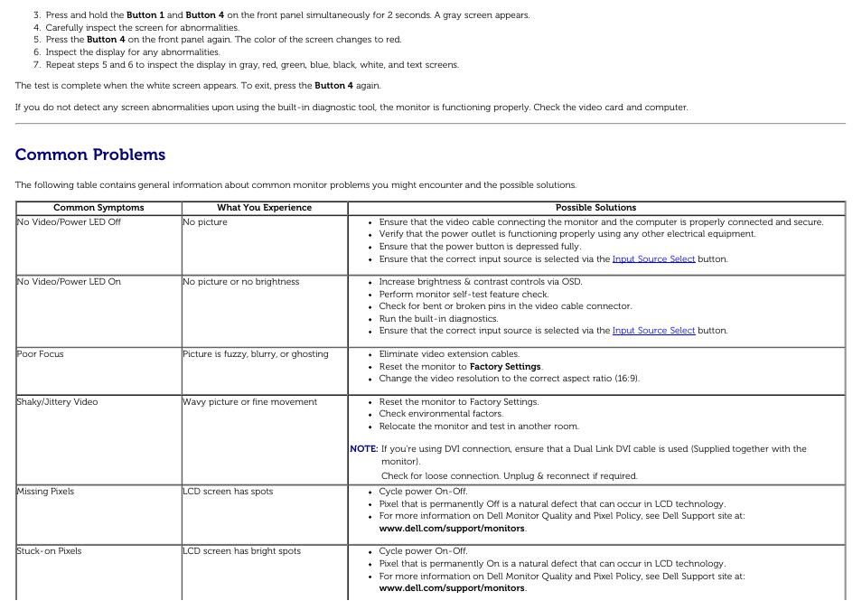 Common problems | Dell U3014 Monitor User Manual | Page 65 / 72