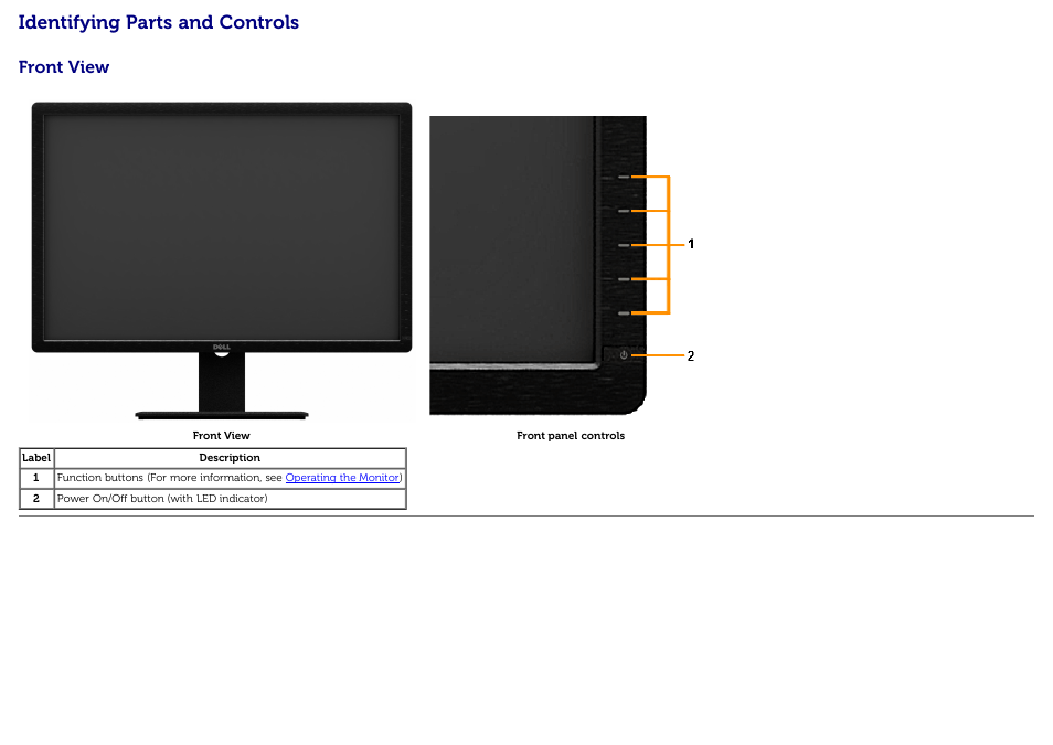 cc5cdea5c0b Identifying parts and controls, Front view | Dell U3014 Monitor User Manual  | Page 8 / 72