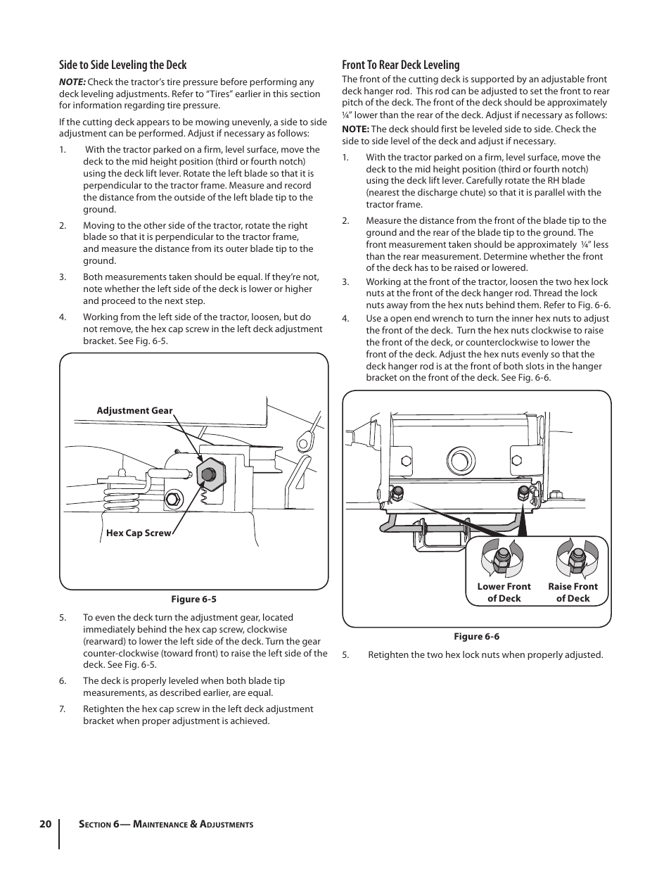 Side to side leveling the deck, Front to rear deck leveling | Cub Cadet  I1042