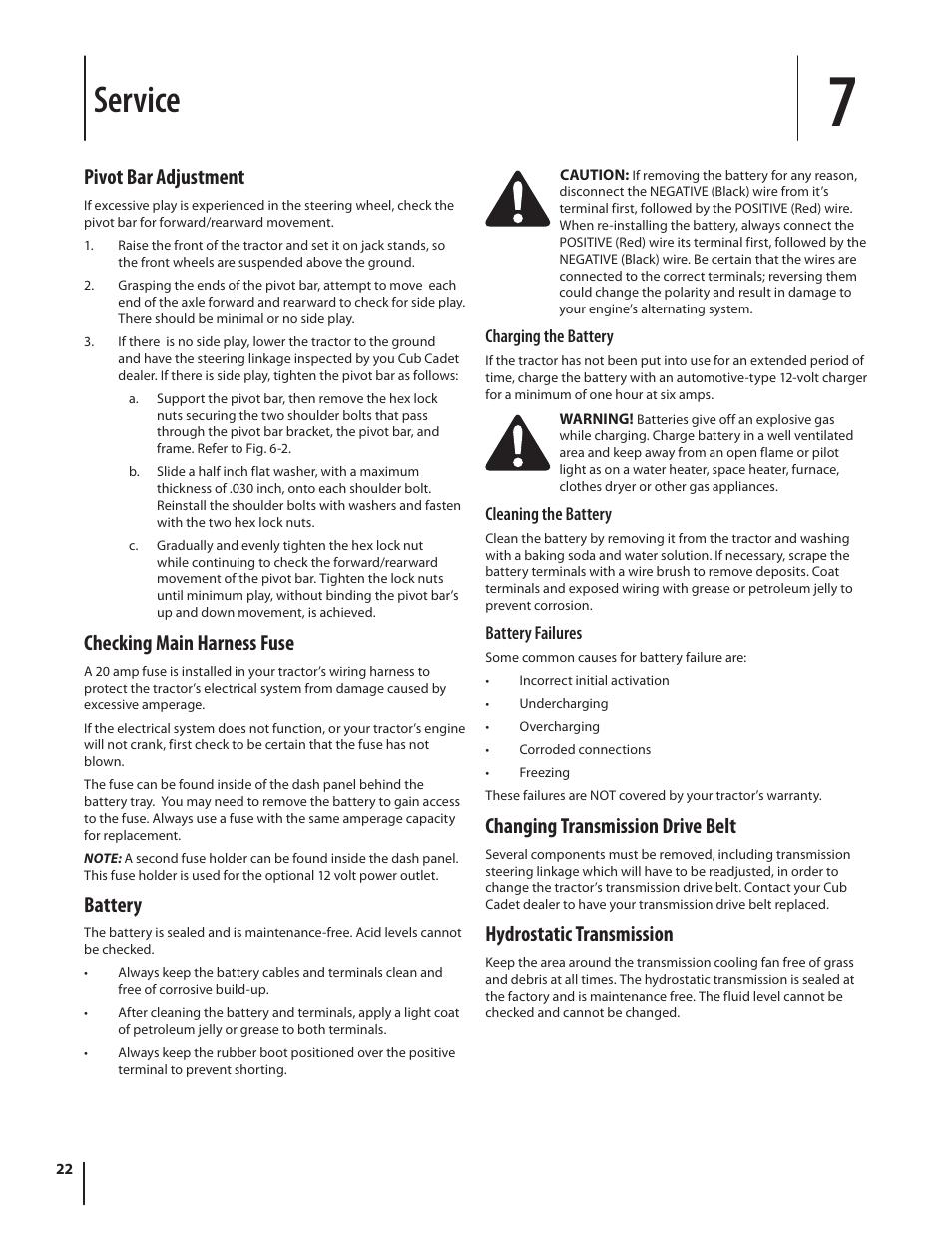 Service, Pivot bar adjustment, Checking main harness fuse | Battery,  Changing transmission drive