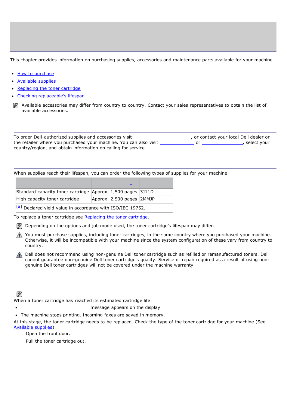Supplies and accessories, Replacing the, Toner cartridge | How to purchase,  Available supplies