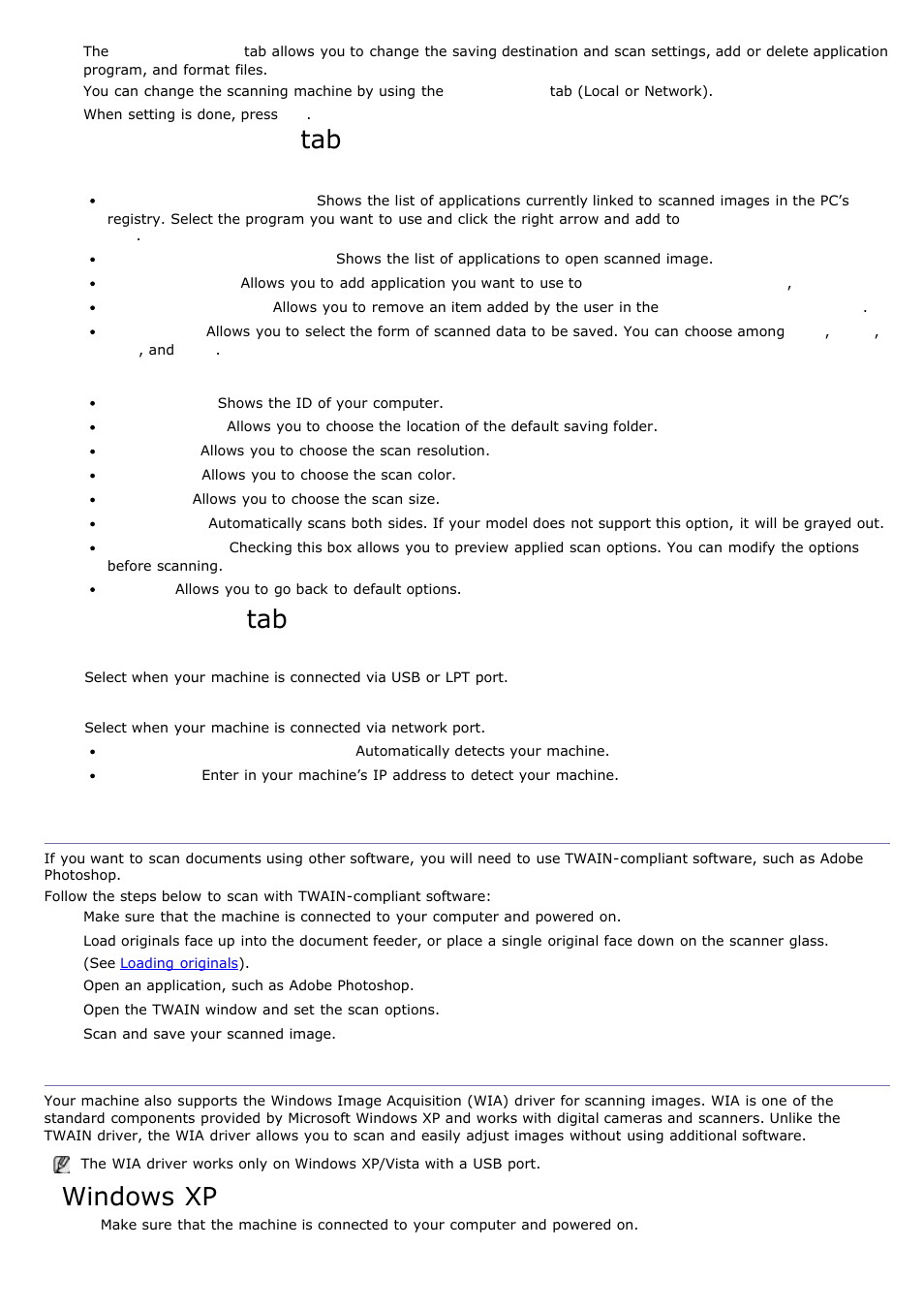 Scanning with twain-enabled software, Scanning using the wia
