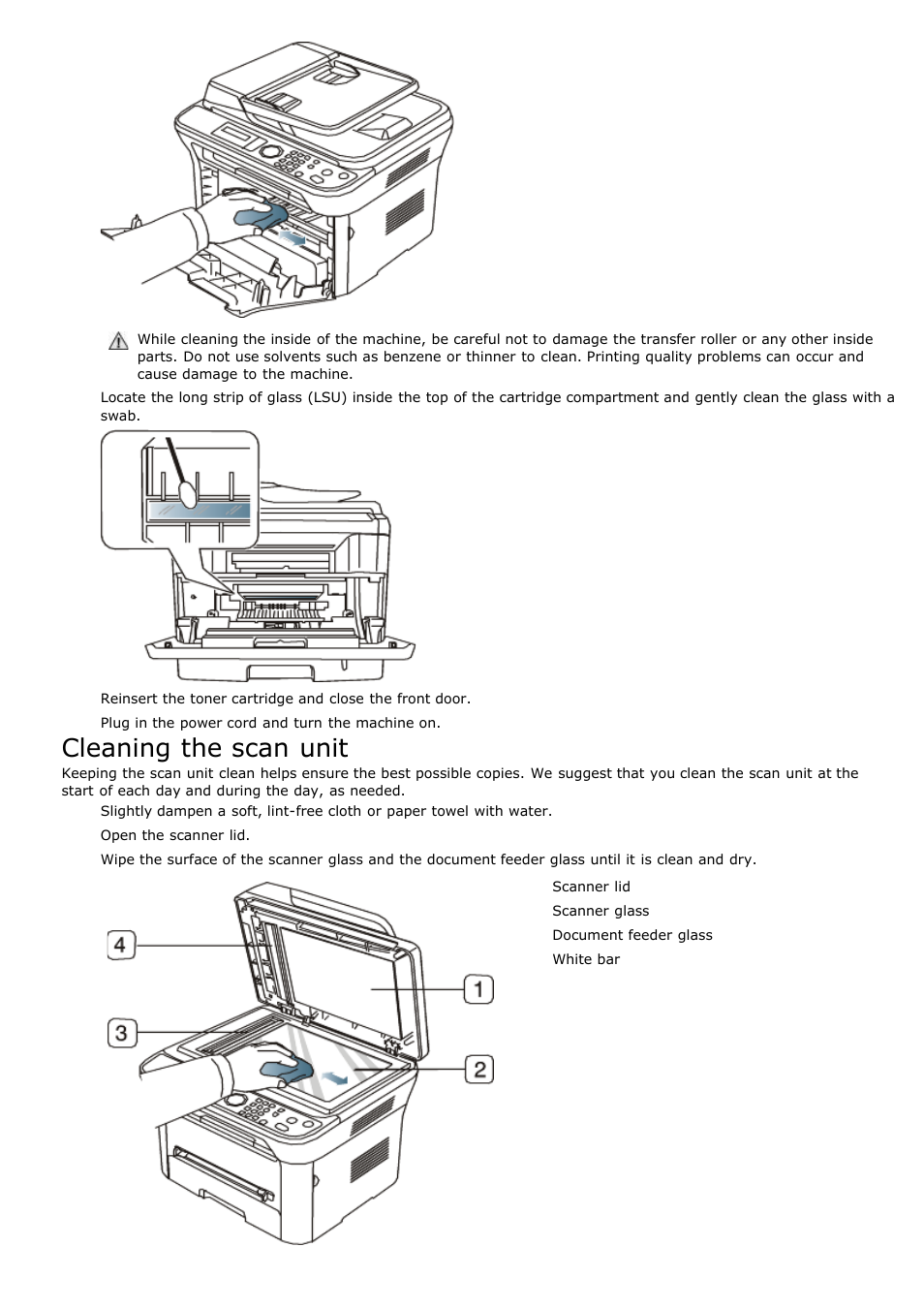 Cleaning the scan unit | Dell 1135n Multifunction Mono Laser