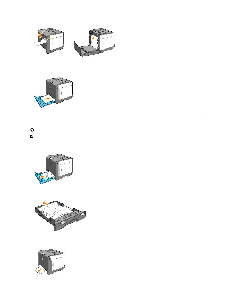 Clearing paper jams from the tray 1   Dell 1320c Network Color Laser Printer  User Manual