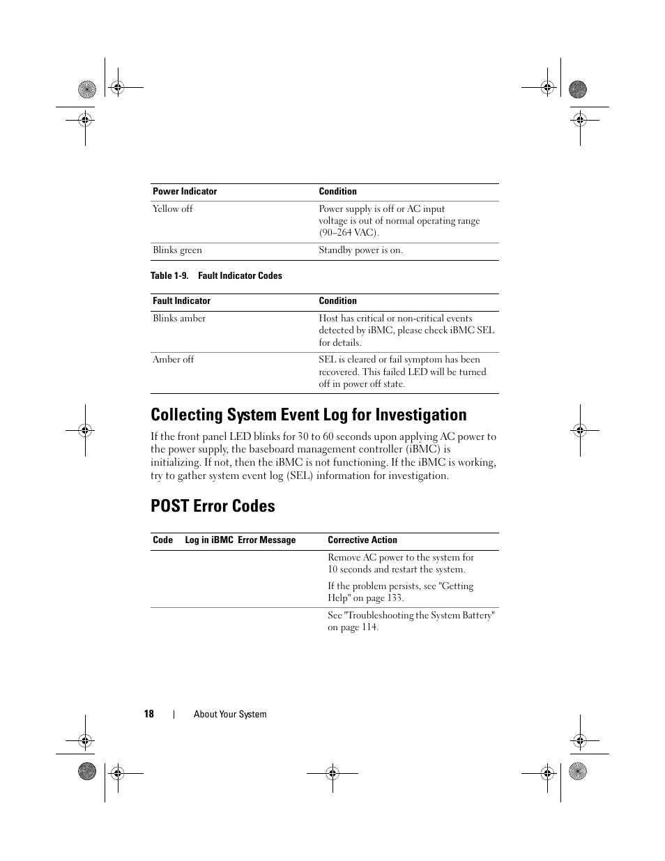 Collecting system event log for investigation, Post error codes