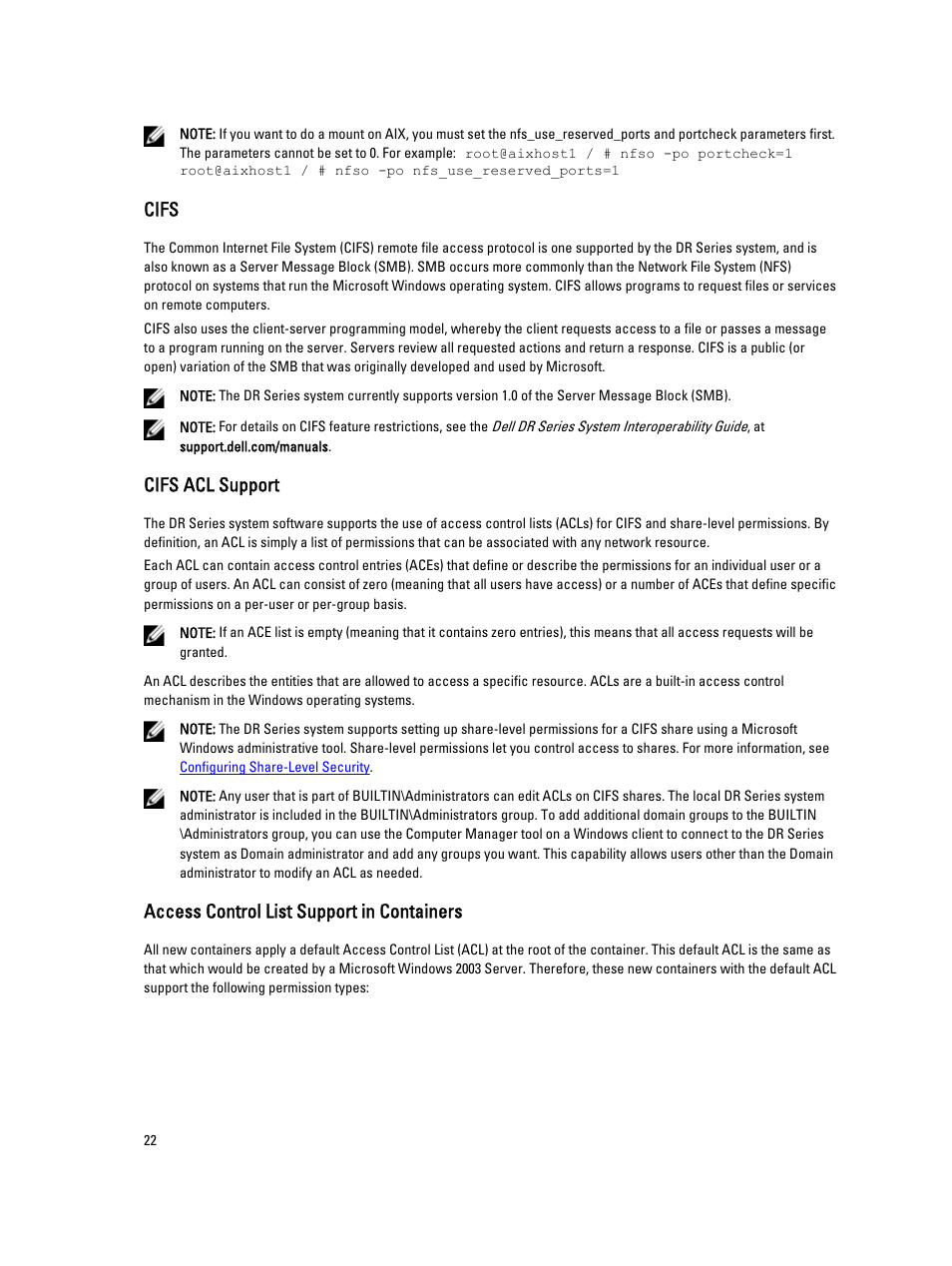 Cifs, Cifs acl support, Access control list support in containers