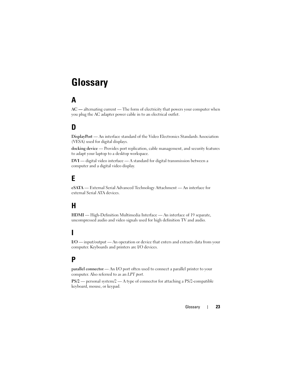 Glossary | Dell E-Port Plus User Manual | Page 23 / 24