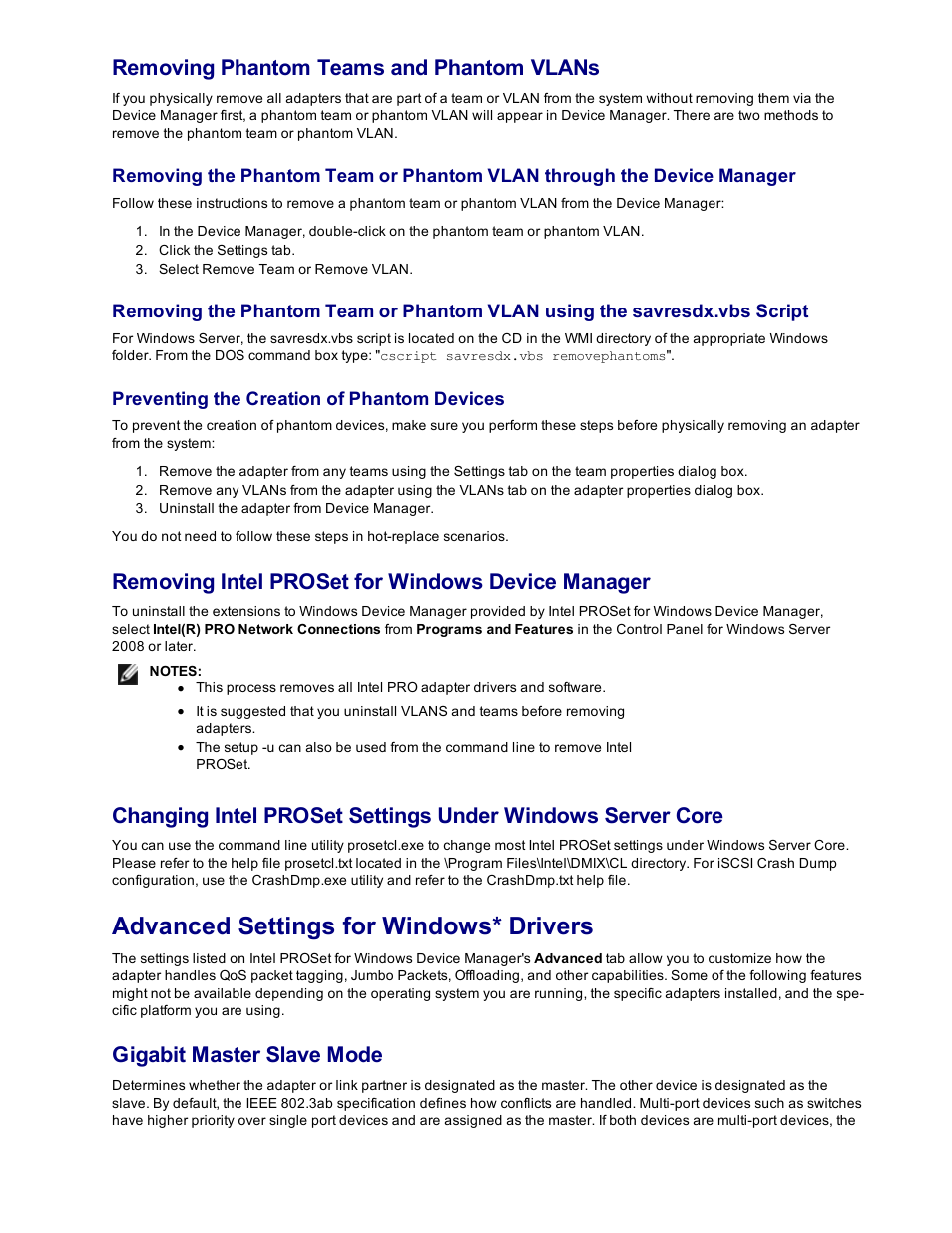 Advanced settings for windows* drivers, Removing phantom teams and