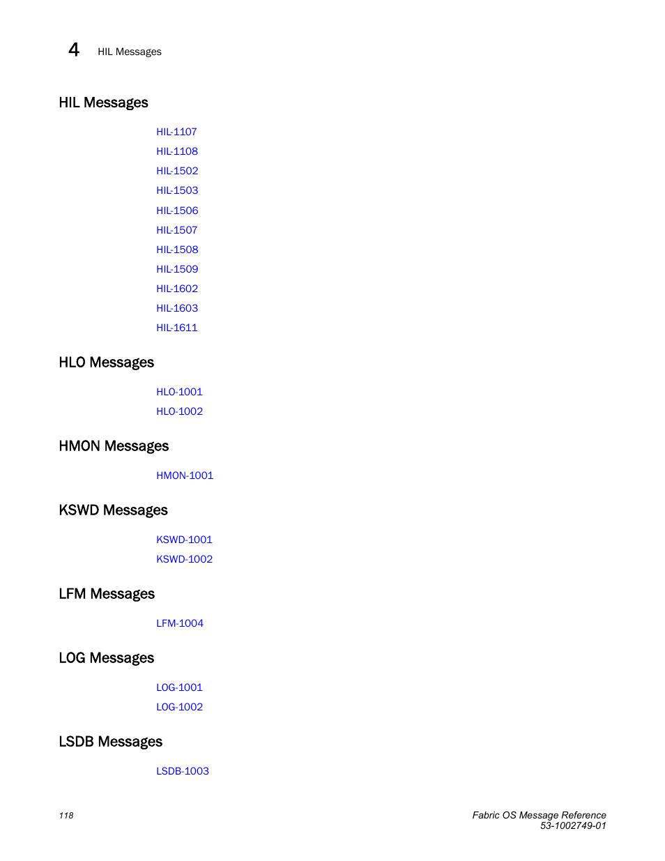 Hil messages, Hlo messages, Hmon messages | Kswd messages, Lfm messages, Log