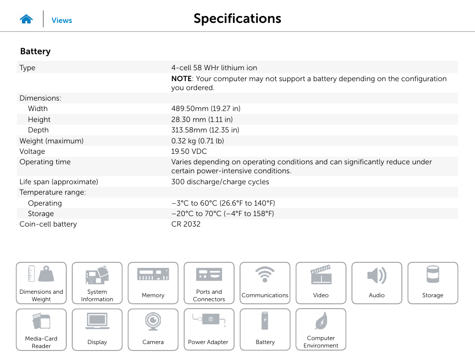 Specifications, Battery | Dell Inspiron 20 (3043, Mid 2014 ...
