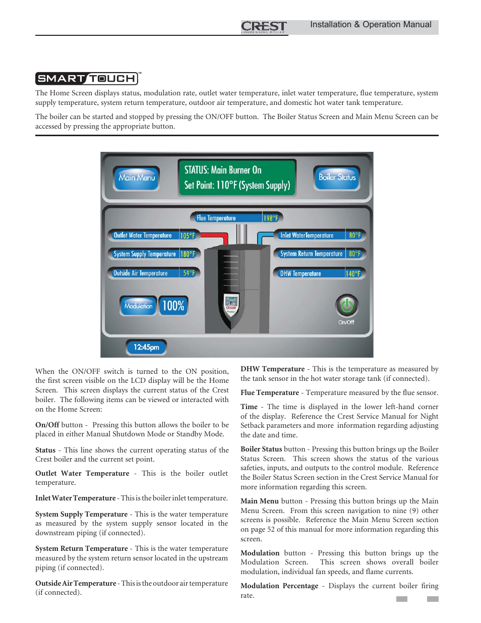 Operating information   Crestron electronic Crest Condensing Boiler ...