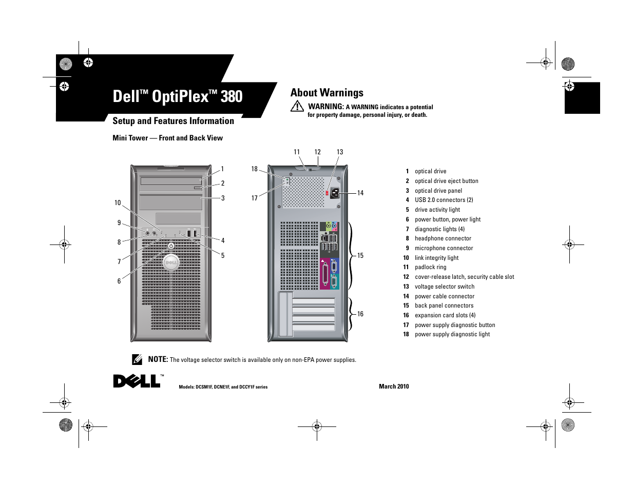 dell optiplex 380 late 2009 user manual 8 pages rh manualsdir com dell optiplex 380 mt manual dell optiplex 380 manual pdf