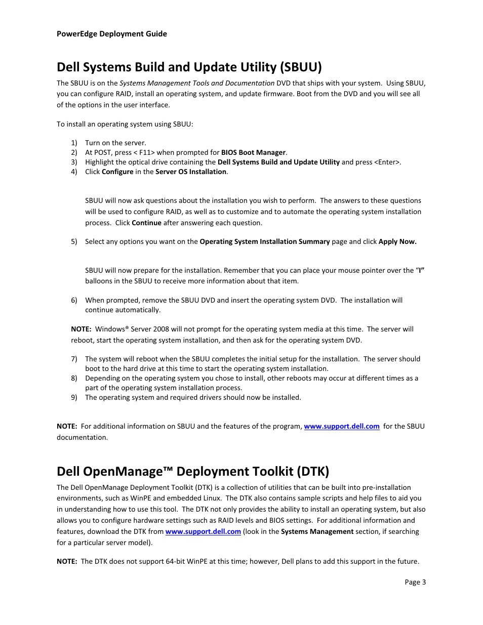 Dell systems build and update utility (sbuu), Dell openmanage