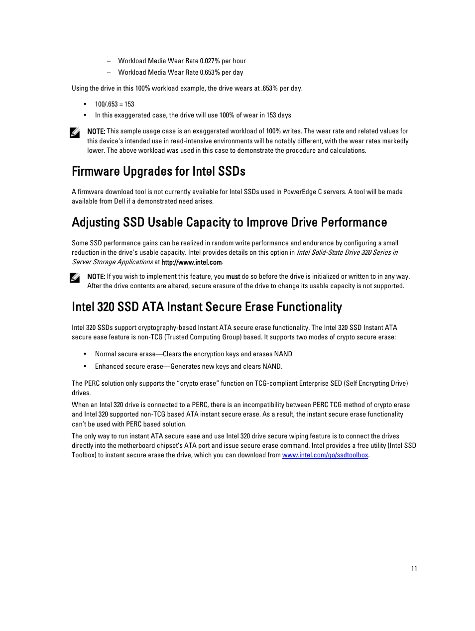 Firmware upgrades for intel ssds | Dell PowerEdge C6220 User Manual