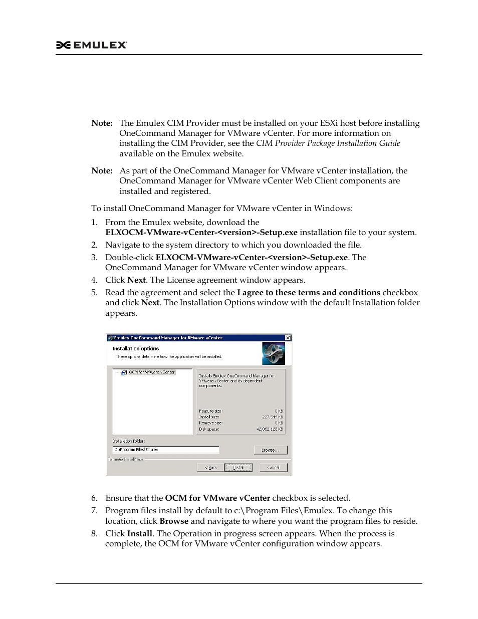 Installing onecommand manager for vmware vcenter, Installing