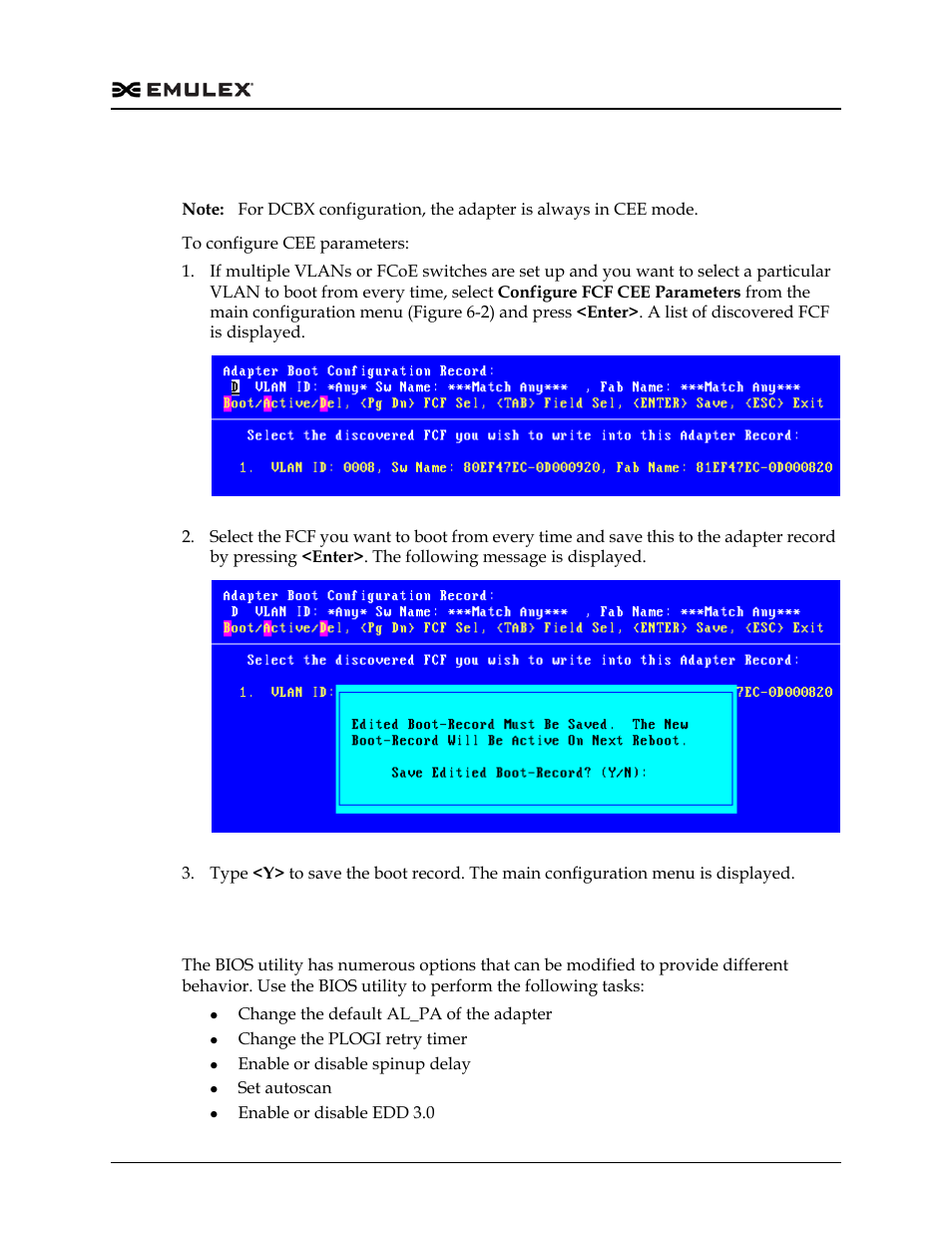 Configuring cee parameters, Configuring advanced adapter