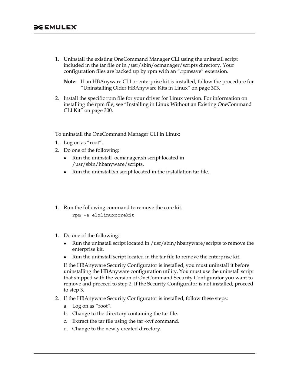 Uninstalling in linux, Uninstalling older hbanyware kits in