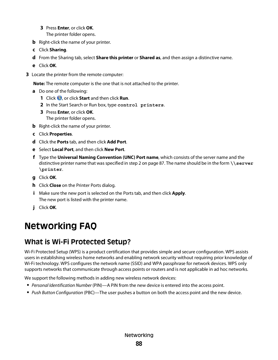 Networking faq, What is wi-fi protected setup | Dell V515w All In One  Wireless Inkjet Printer User Manual | Page 88 / 141
