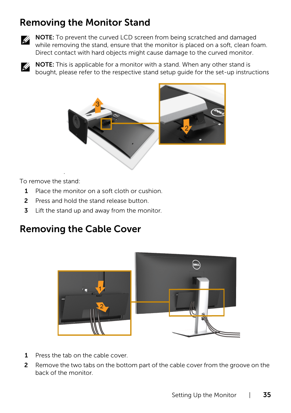 Removing the monitor stand, Removing the cable cover | Dell UltraSharp 34  Curved Monitor User Manual | Page 35 / 69