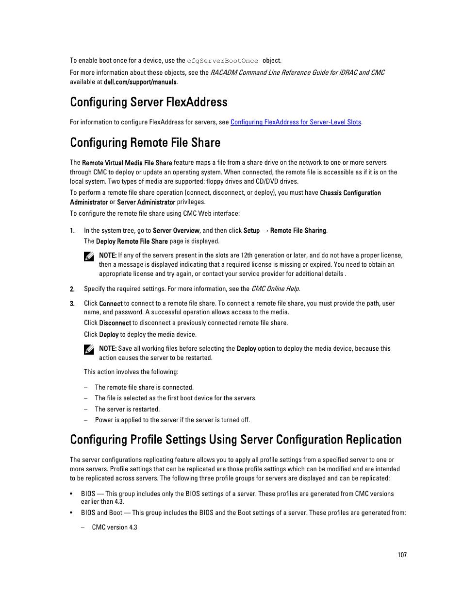 Configuring server flexaddress, Configuring remote file share